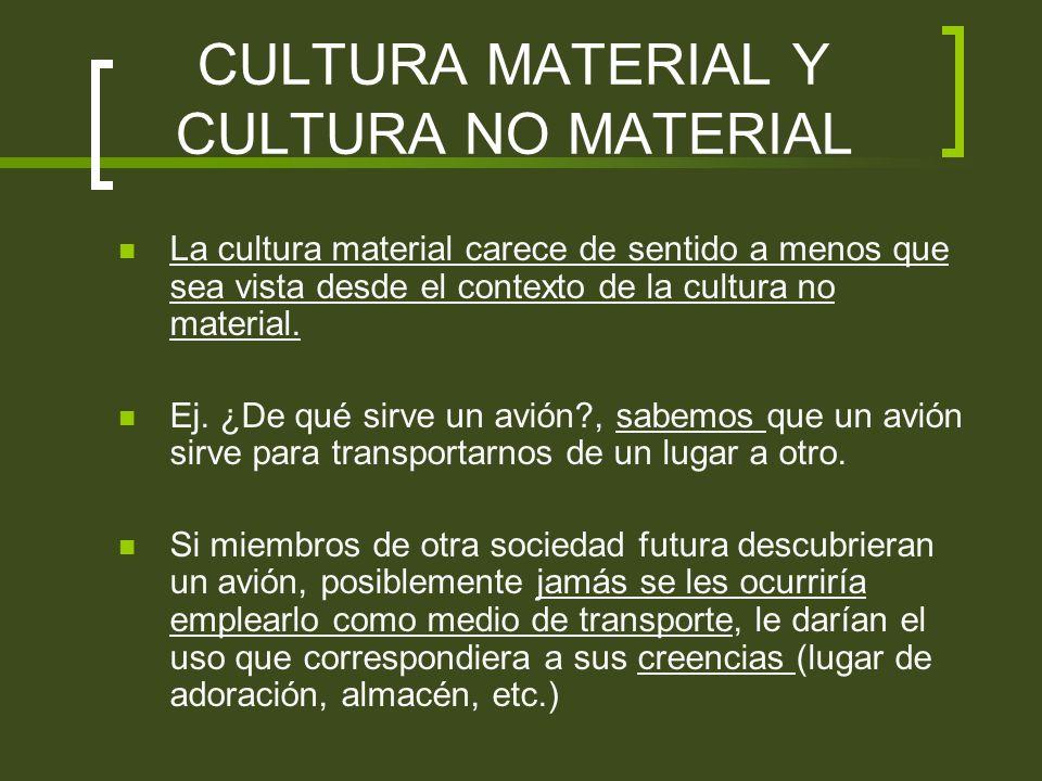 CULTURA MATERIAL Y CULTURA NO MATERIAL
