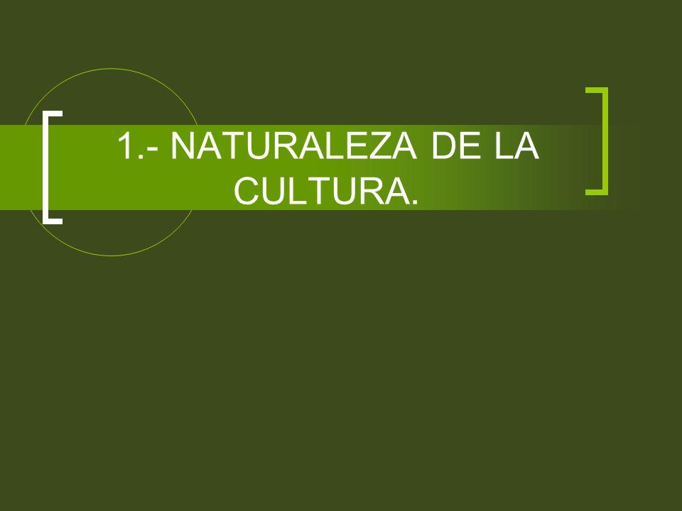 1.- NATURALEZA DE LA CULTURA.