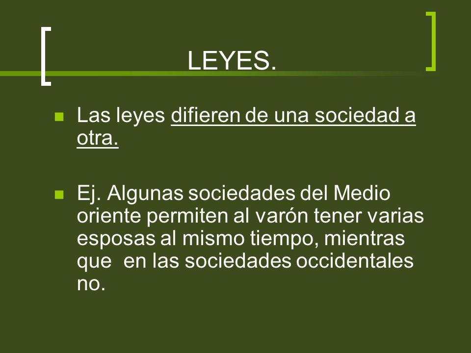 LEYES. Las leyes difieren de una sociedad a otra.