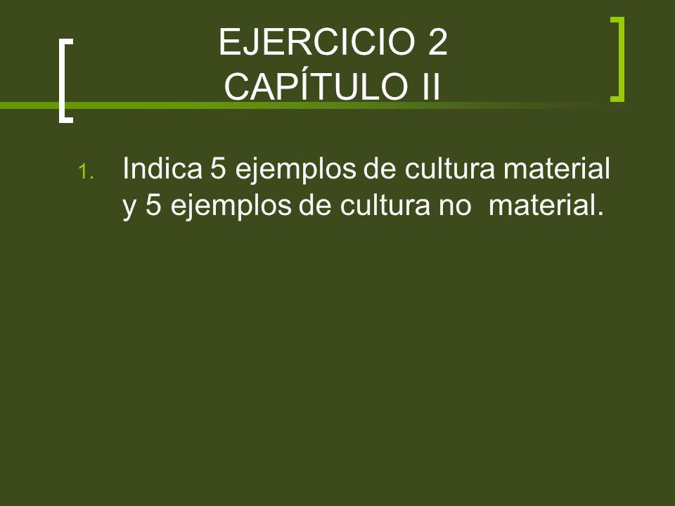EJERCICIO 2 CAPÍTULO II Indica 5 ejemplos de cultura material y 5 ejemplos de cultura no material.