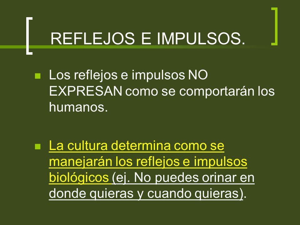 REFLEJOS E IMPULSOS. Los reflejos e impulsos NO EXPRESAN como se comportarán los humanos.