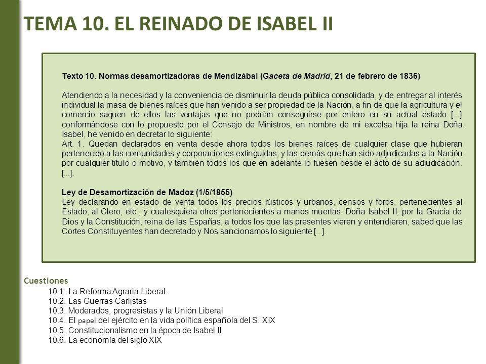 TEMA 10. EL REINADO DE ISABEL II