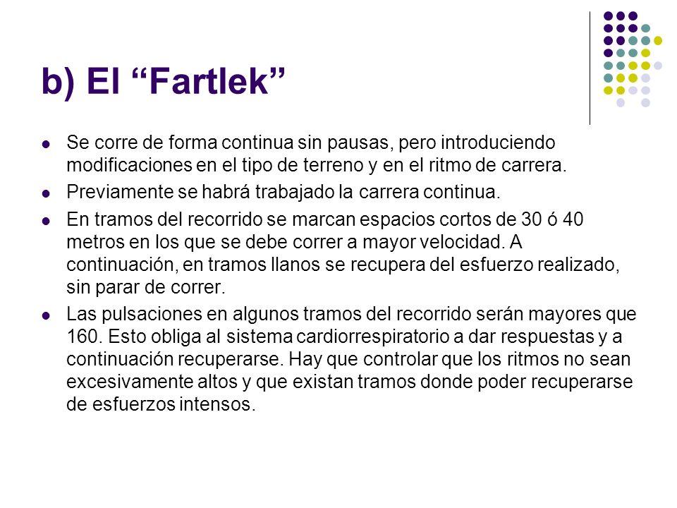 b) El Fartlek Se corre de forma continua sin pausas, pero introduciendo modificaciones en el tipo de terreno y en el ritmo de carrera.