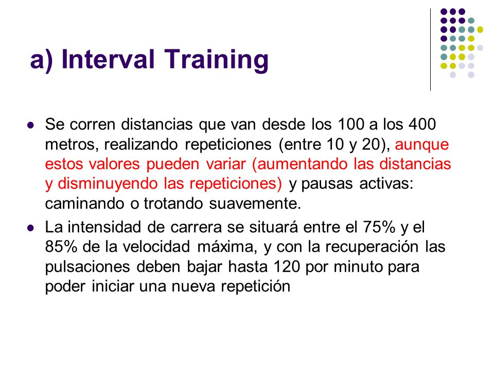 a) Interval Training