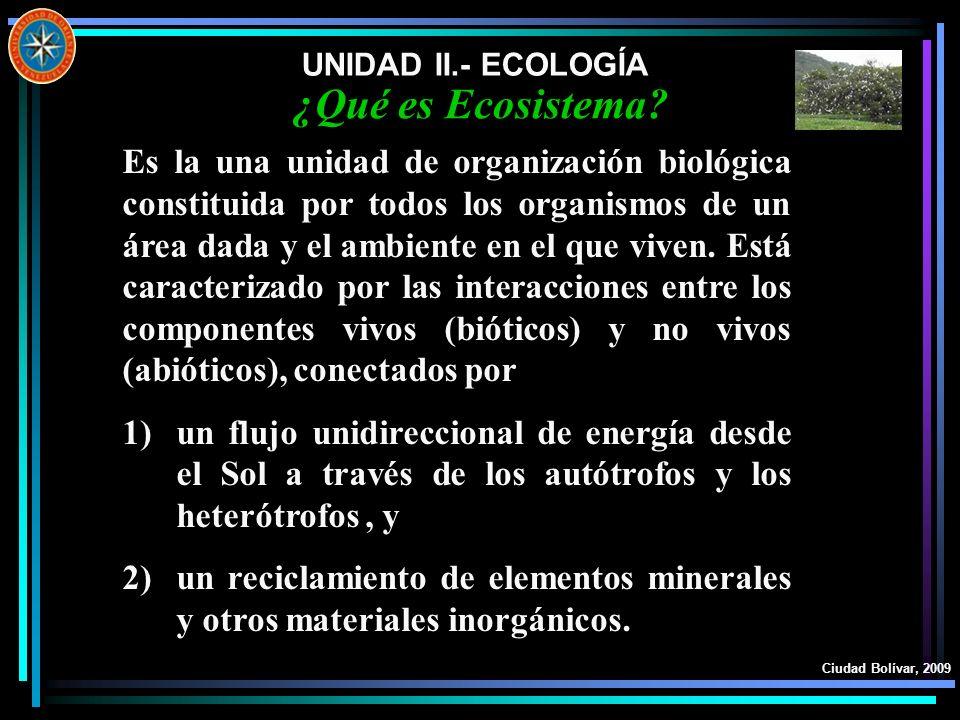 UNIDAD II.- ECOLOGÍA ¿Qué es Ecosistema
