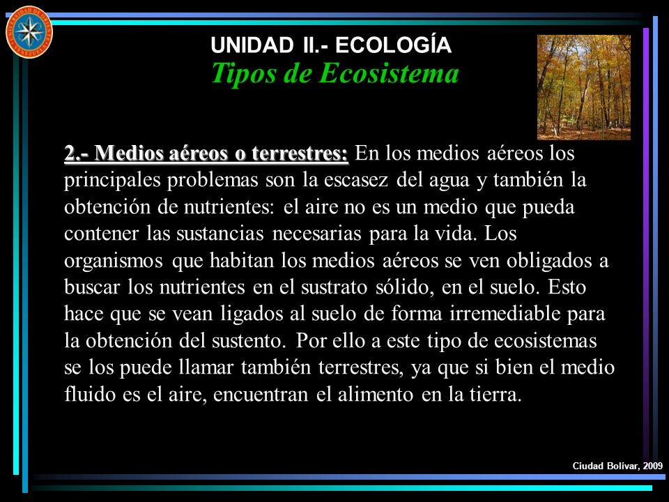 Tipos de Ecosistema UNIDAD II.- ECOLOGÍA