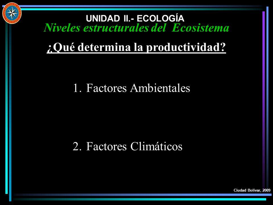 Niveles estructurales del Ecosistema ¿Qué determina la productividad