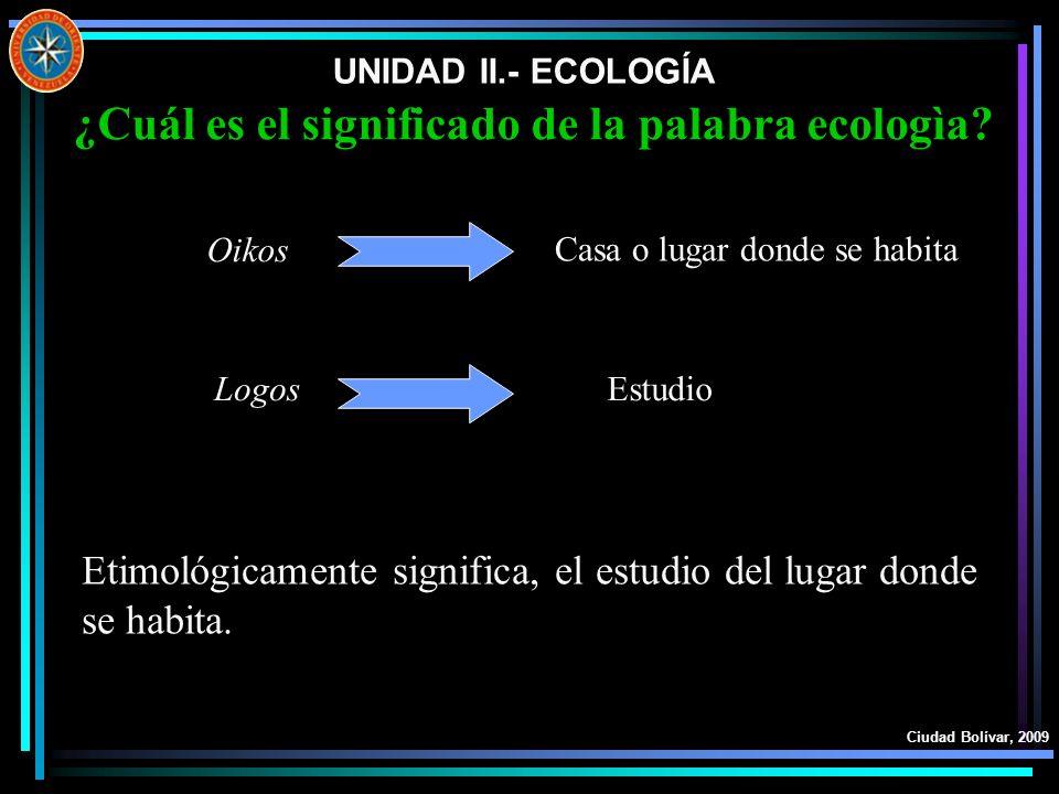 ¿Cuál es el significado de la palabra ecologìa