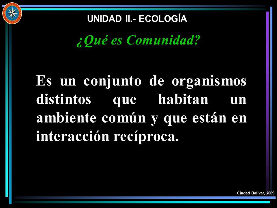 UNIDAD II.- ECOLOGÍA ¿Qué es Comunidad Es un conjunto de organismos distintos que habitan un ambiente común y que están en interacción recíproca.