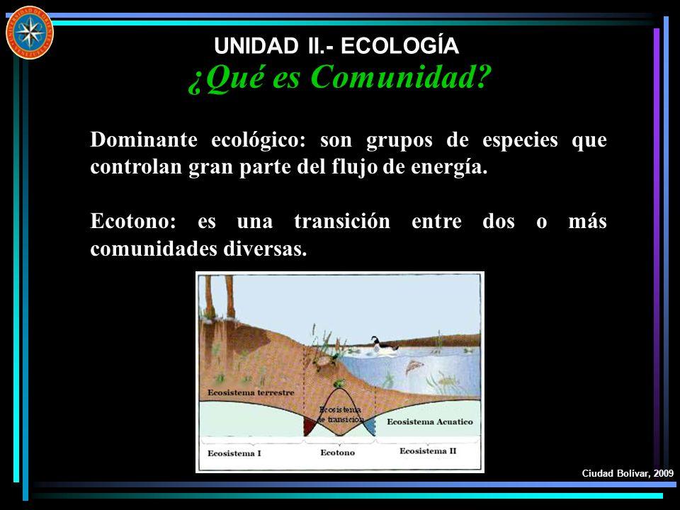 ¿Qué es Comunidad UNIDAD II.- ECOLOGÍA