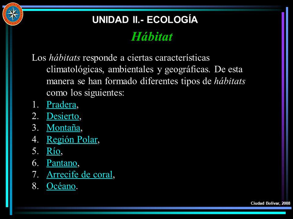 Hábitat UNIDAD II.- ECOLOGÍA