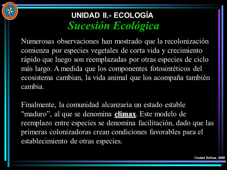 Sucesión Ecológica UNIDAD II.- ECOLOGÍA