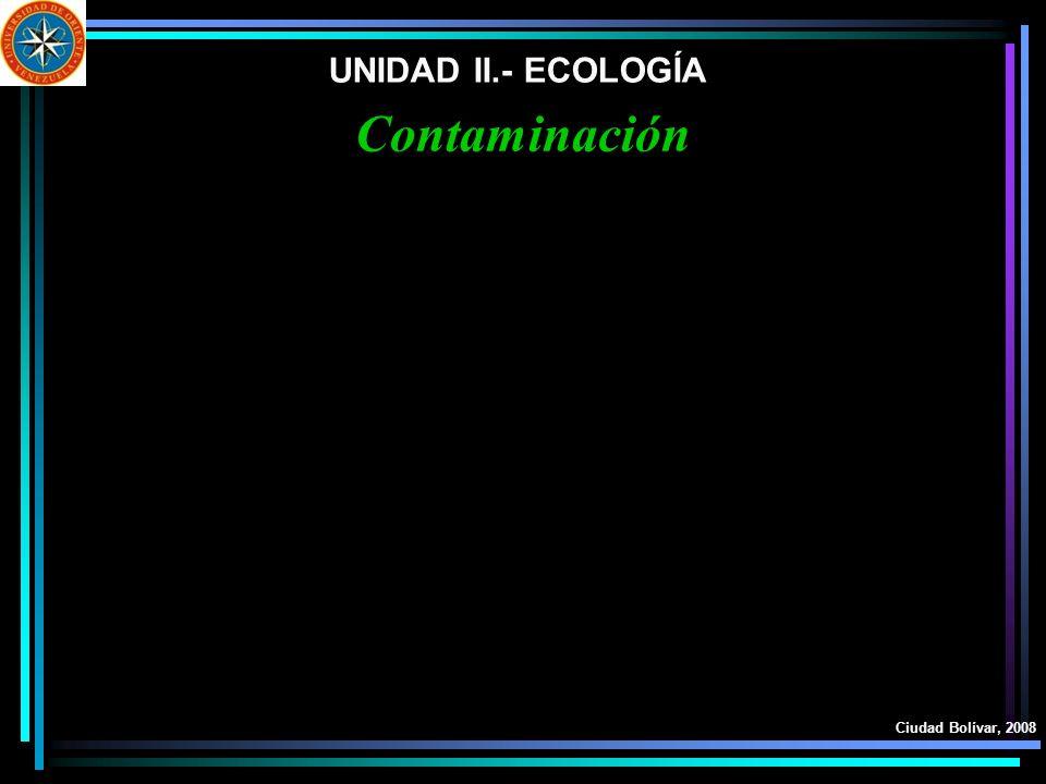 UNIDAD II.- ECOLOGÍA Contaminación Ciudad Bolívar, 2008
