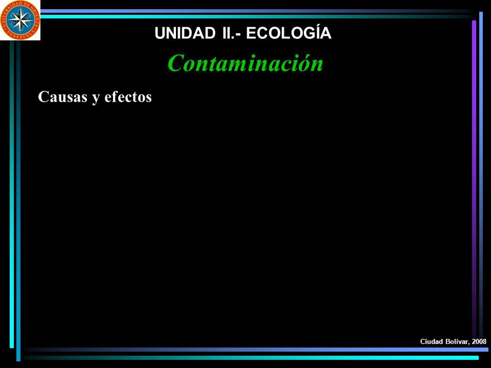 Contaminación UNIDAD II.- ECOLOGÍA Causas y efectos