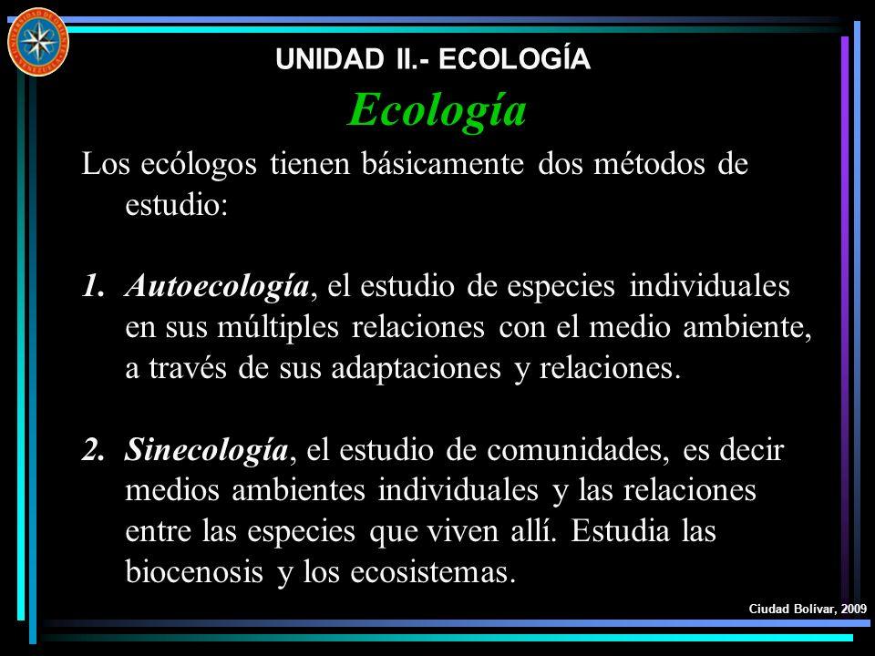 Ecología Los ecólogos tienen básicamente dos métodos de estudio: