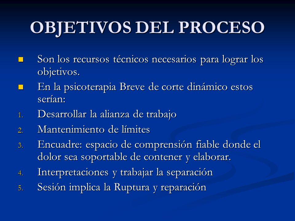 OBJETIVOS DEL PROCESO Son los recursos técnicos necesarios para lograr los objetivos. En la psicoterapia Breve de corte dinámico estos serían: