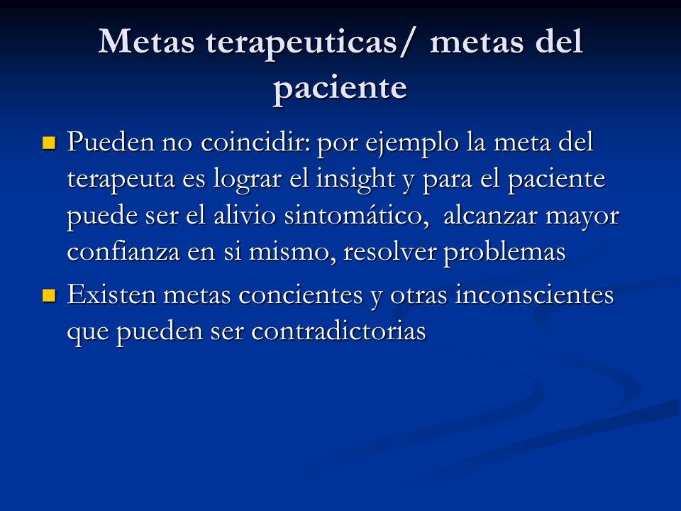Metas terapeuticas/ metas del paciente