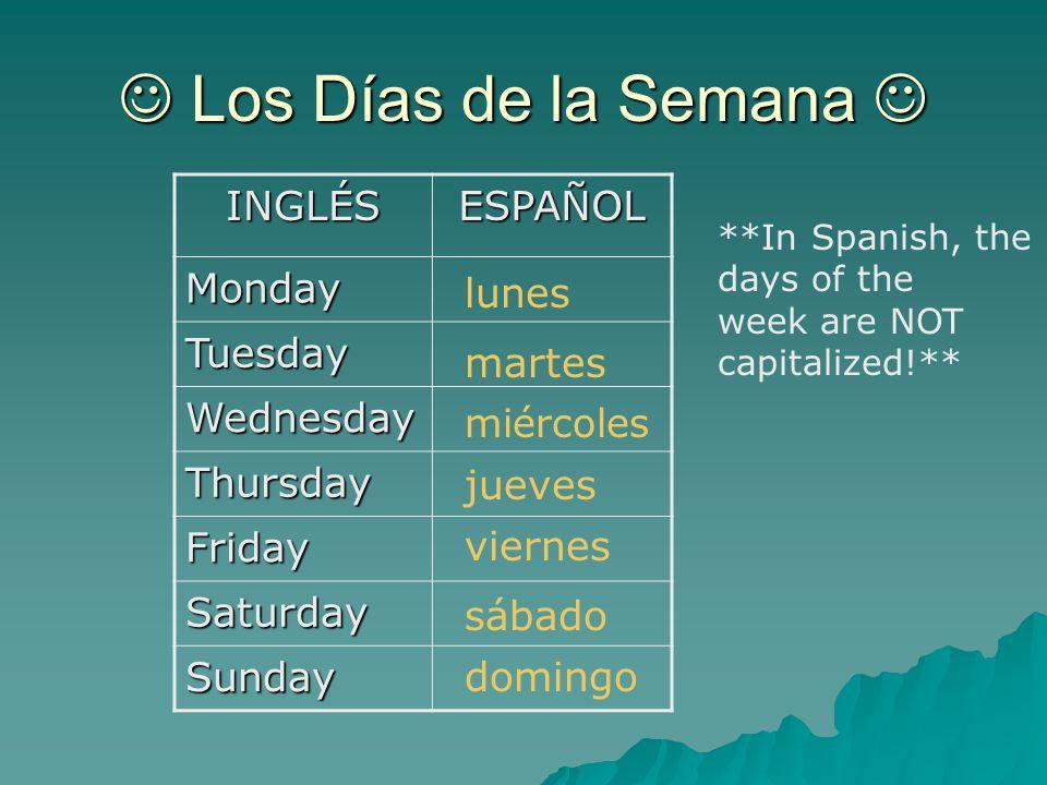Los d as de la semana los meses del a o las estaciones for En 8 dias cumplo anos