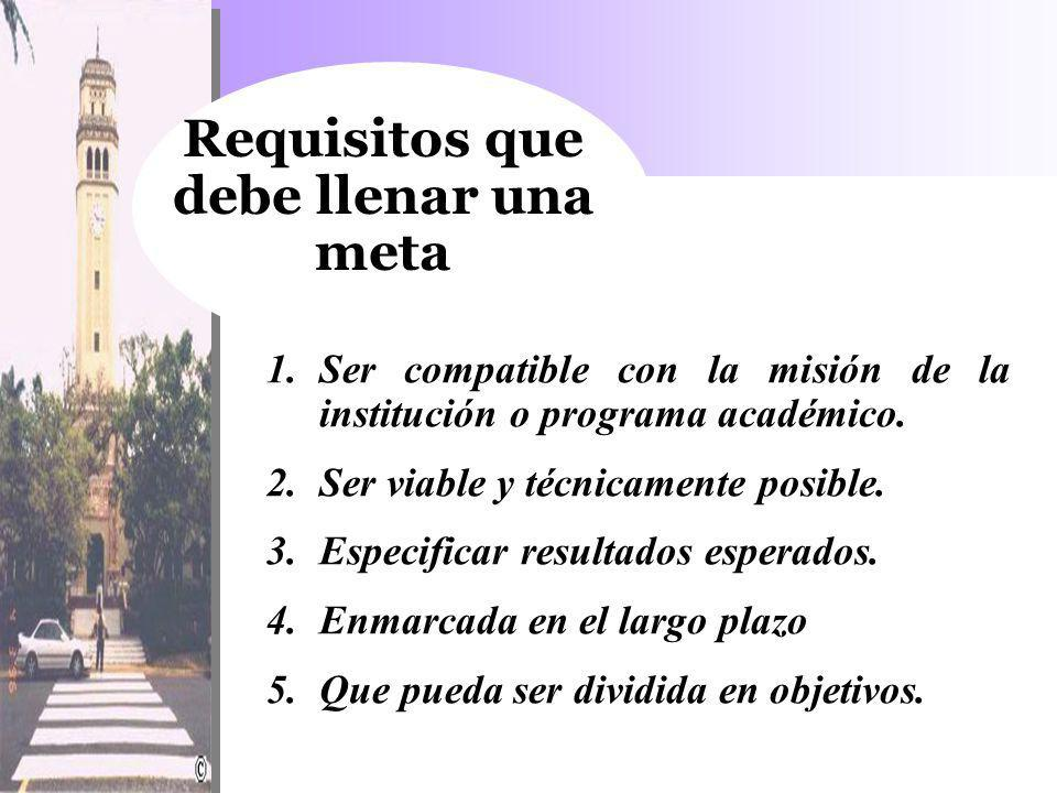 Requisitos que debe llenar una meta
