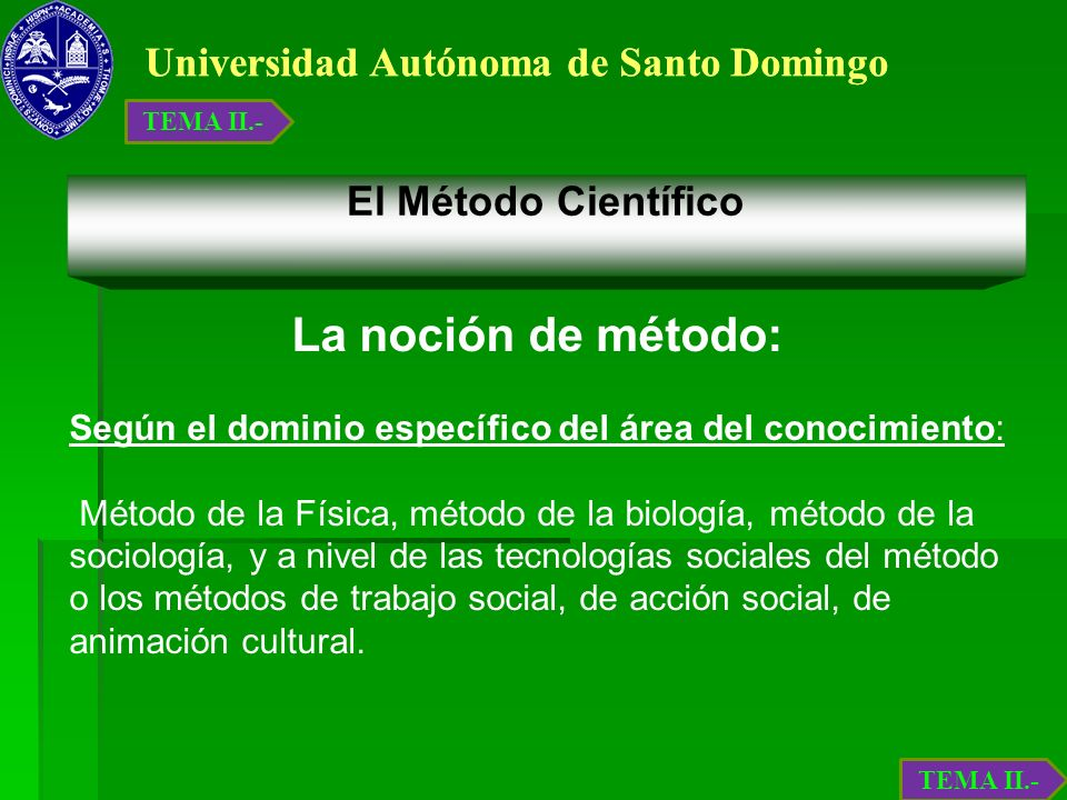 La noción de método: Universidad Autónoma de Santo Domingo