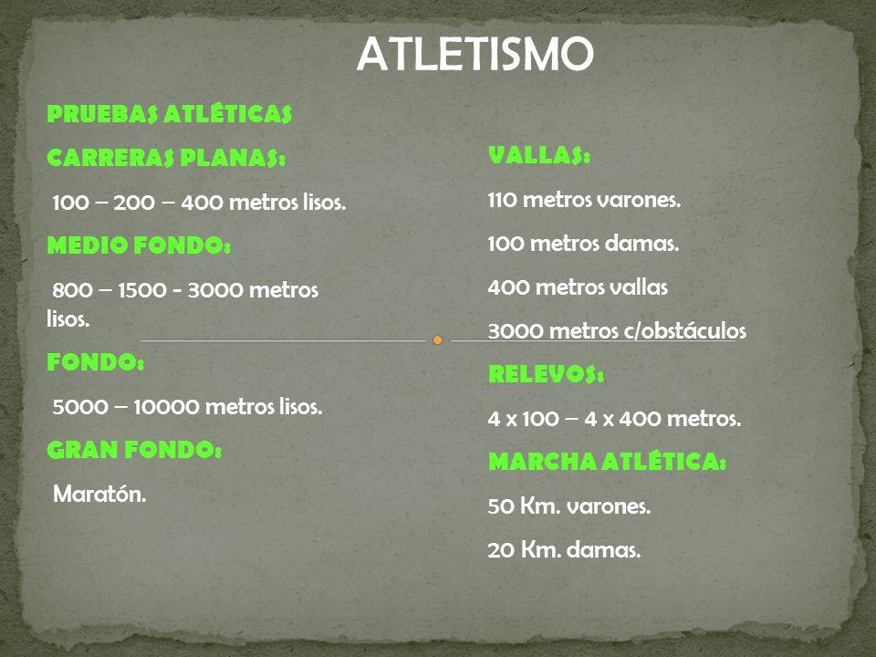 ATLETISMO PRUEBAS ATLÉTICAS CARRERAS PLANAS: