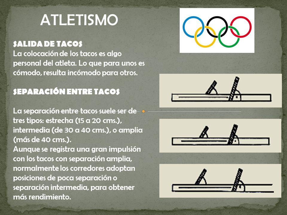 ATLETISMO SALIDA DE TACOS La colocación de los tacos es algo personal del atleta. Lo que para unos es cómodo, resulta incómodo para otros.