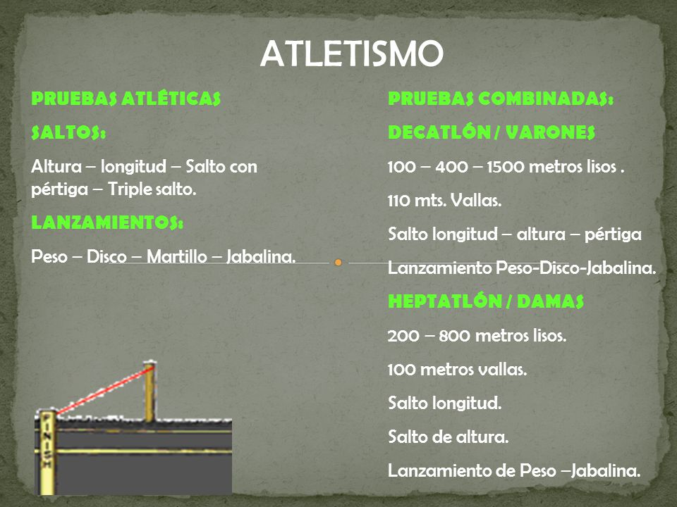 ATLETISMO PRUEBAS ATLÉTICAS SALTOS: