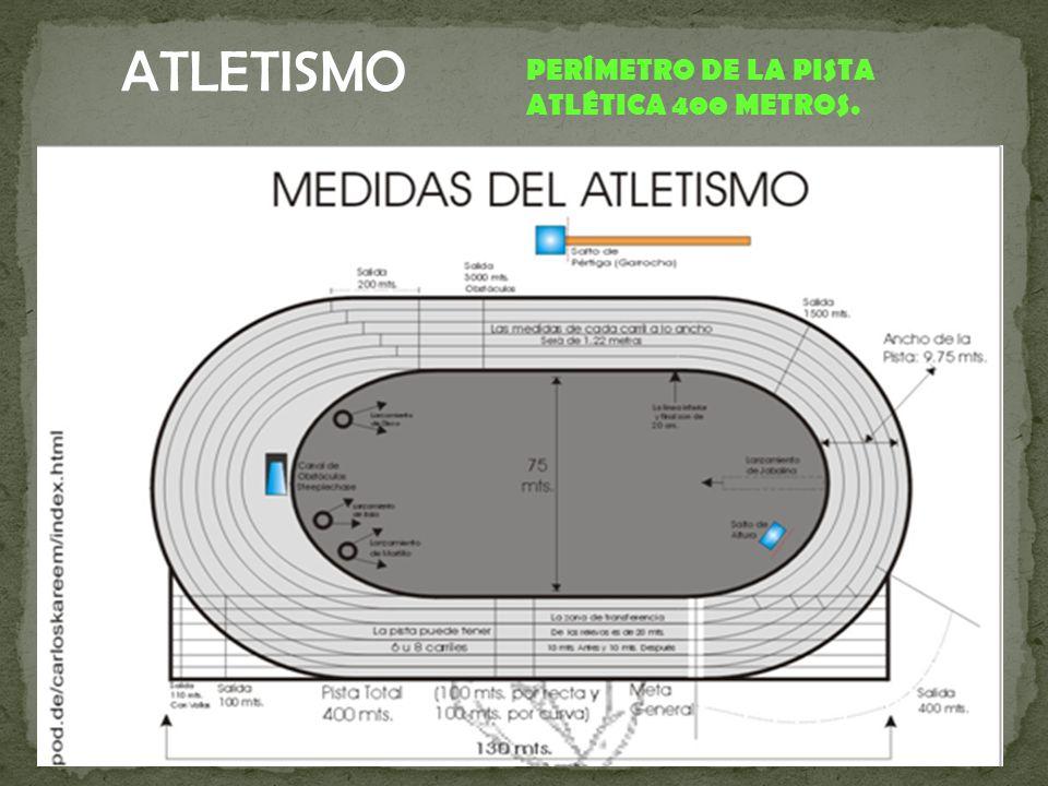 ATLETISMO PERÍMETRO DE LA PISTA ATLÉTICA 400 METROS.