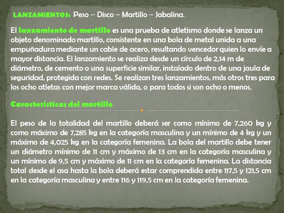 Características del martillo
