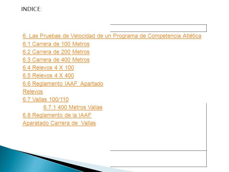 INDICE: 6. Las Pruebas de Velocidad de un Programa de Competencia Atlética. 6.1 Carrera de 100 Metros.