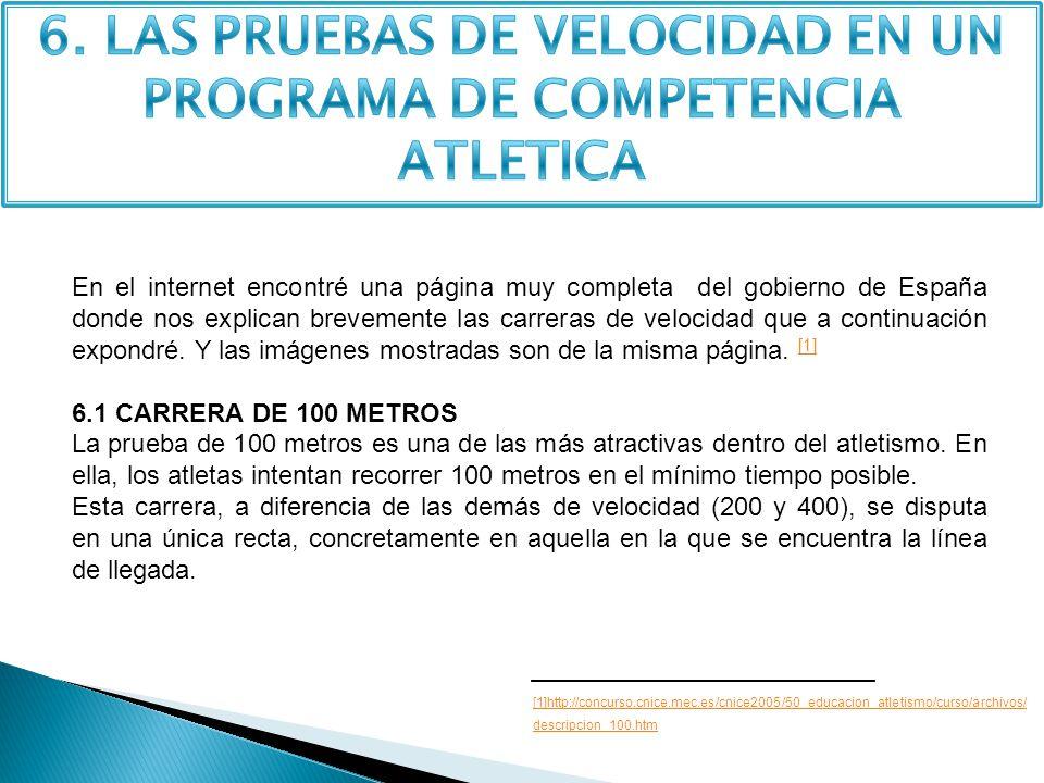 6. LAS PRUEBAS DE VELOCIDAD EN UN PROGRAMA DE COMPETENCIA ATLETICA