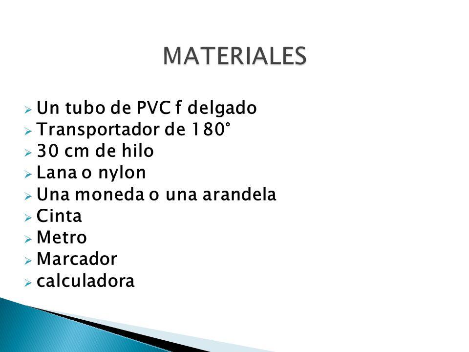 MATERIALES Un tubo de PVC f delgado Transportador de 180°