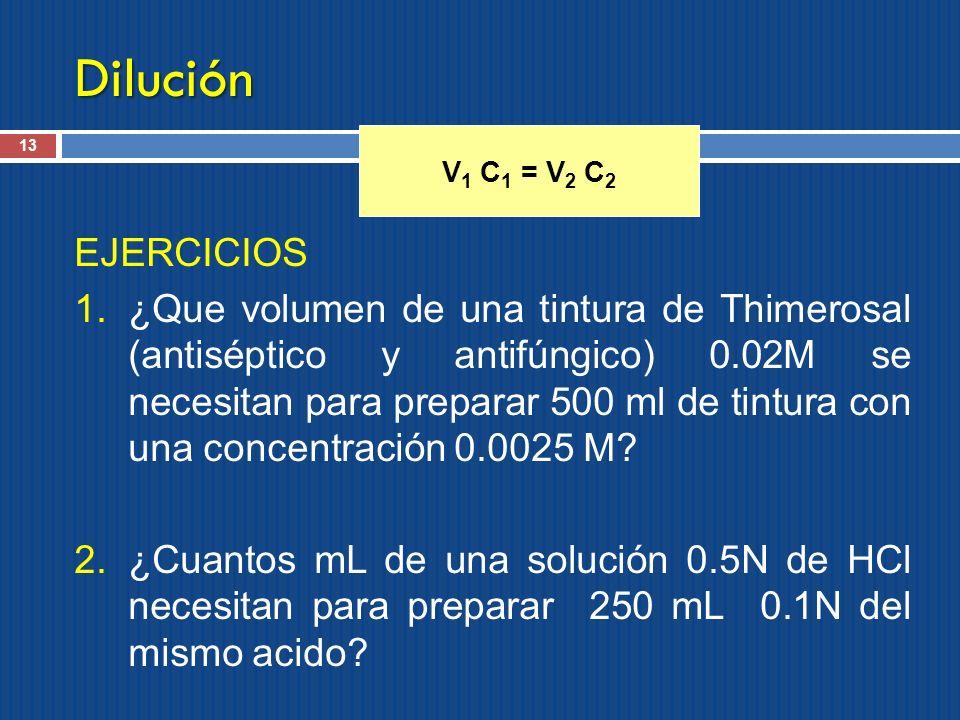 Dilución V1 C1 = V2 C2. EJERCICIOS.
