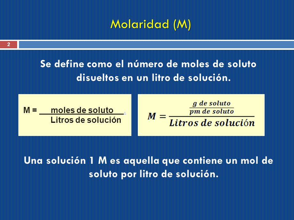 Concentración de las Soluciones II
