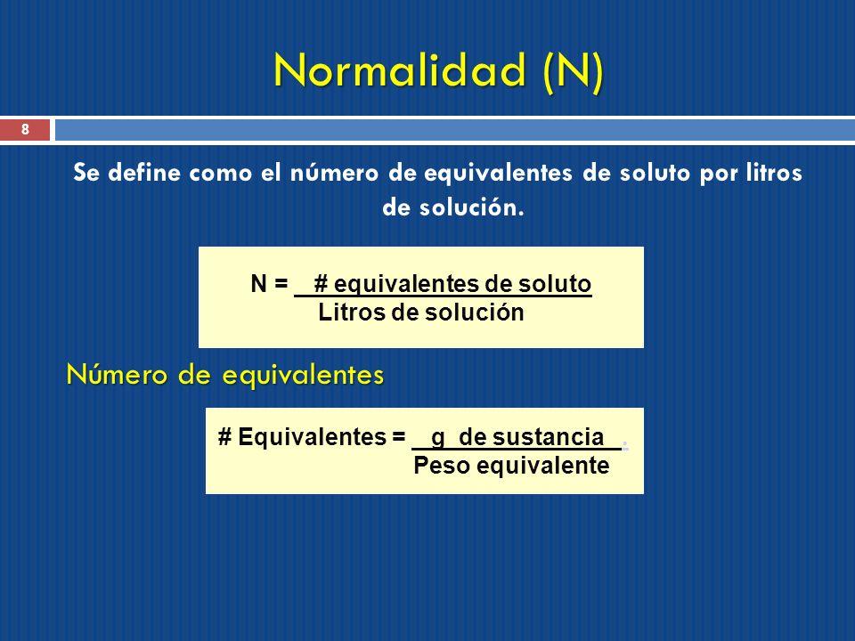 N = # equivalentes de soluto # Equivalentes = g de sustancia .