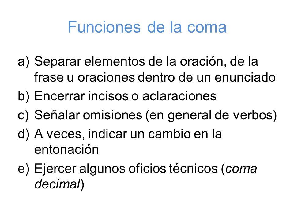 Funciones de la coma Separar elementos de la oración, de la frase u oraciones dentro de un enunciado.