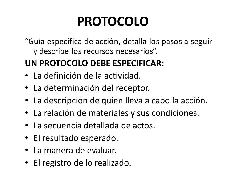 PROTOCOLO UN PROTOCOLO DEBE ESPECIFICAR: