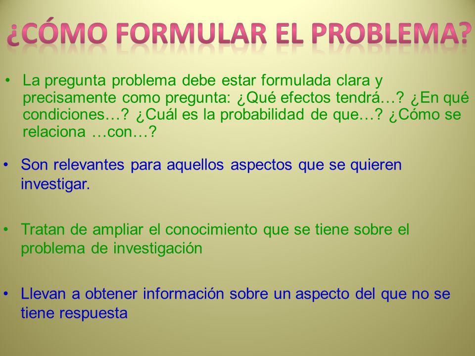 ¿cómo FORMULAr el problema