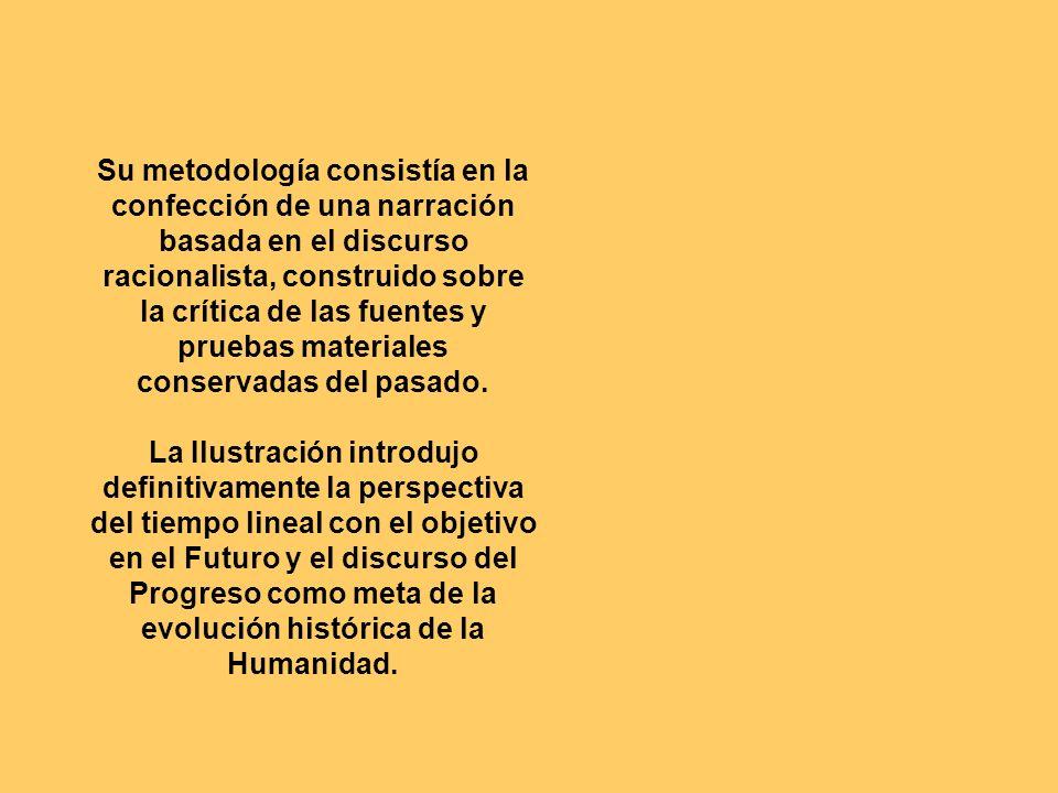 Su metodología consistía en la confección de una narración basada en el discurso racionalista, construido sobre la crítica de las fuentes y pruebas materiales conservadas del pasado.