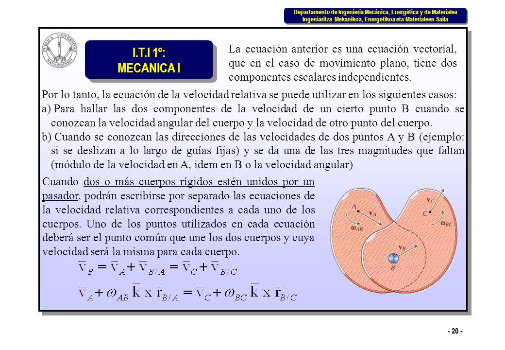 La ecuación anterior es una ecuación vectorial, que en el caso de movimiento plano, tiene dos componentes escalares independientes.
