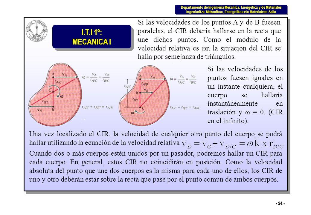 Si las velocidades de los puntos A y de B fuesen paralelas, el CIR debería hallarse en la recta que une dichos puntos. Como el módulo de la velocidad relativa es ωr, la situación del CIR se halla por semejanza de triángulos.