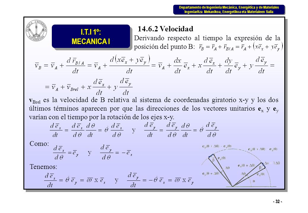 14.6.2 Velocidad Derivando respecto al tiempo la expresión de la posición del punto B: