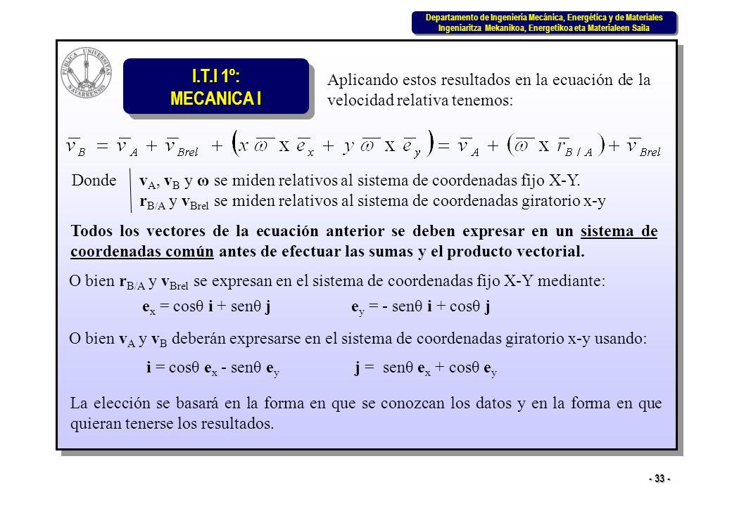 Aplicando estos resultados en la ecuación de la velocidad relativa tenemos: