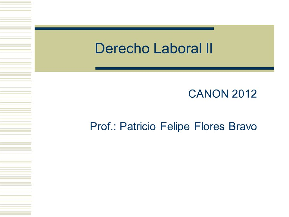 CANON 2012 Prof.: Patricio Felipe Flores Bravo