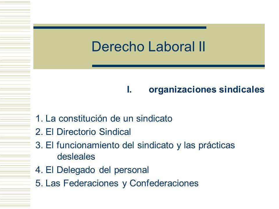 Derecho Laboral II organizaciones sindicales
