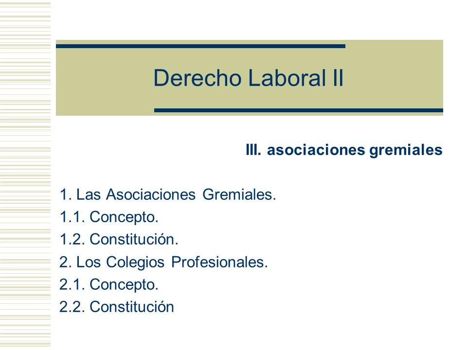 Derecho Laboral II III. asociaciones gremiales
