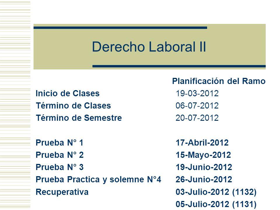 Derecho Laboral II Planificación del Ramo Inicio de Clases 19-03-2012