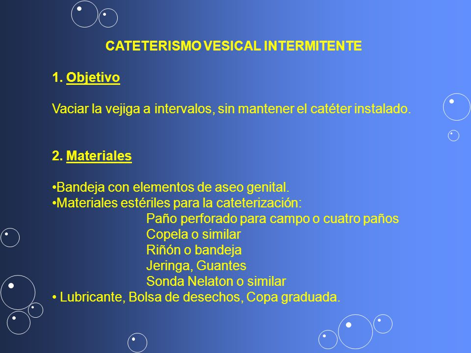 CATETERISMO VESICAL INTERMITENTE