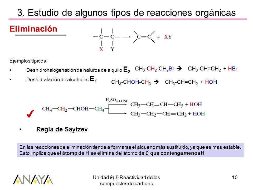 3. Estudio de algunos tipos de reacciones orgánicas