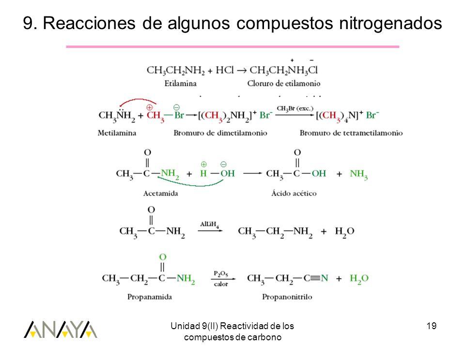9. Reacciones de algunos compuestos nitrogenados